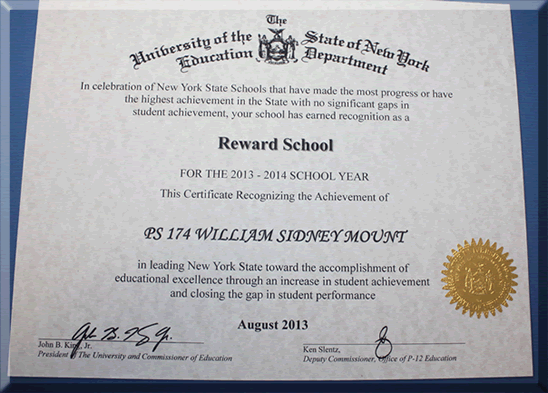 School staff recognition in the fall of 2013 we were thrilled to learn that our school received recognition from new york state education department as a reward school yelopaper Choice Image